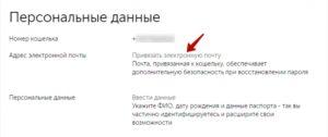 Выбор кнопки «Привязать электронную почту»